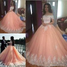 Blush Pink Sweet 16 Quinceanera Dresses Saudi Arabic Prom Wedding Ball Gowns New