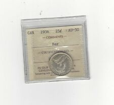 **1936 Bar**, ICCS Graded Canadian, 25 Cent, **AU-50**