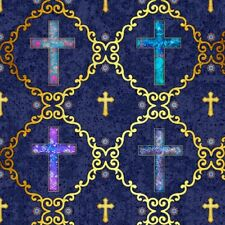 Faith-Crosses in Medallions on Navy B/G-Quilting Treasures-BTY