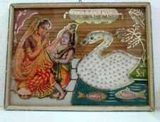 Vintage Collectible Hand Painted / Beads Work Hindu God Bal Krishana Litho Print