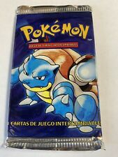 1999 Pokemon Base Set Sealed Booster Pack Blastoise Art Light Spanish