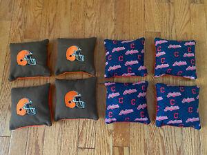 Cornhole Bean Bags Set of 8 ACA Regulation CLEVELAND INDIANS & CLEVELAND BROWNS