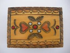 """Hand Carved Hinged Box Made In Poland  Hearts Floral 3"""" X  2-1/2""""  X  1-1/4"""""""