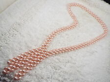 Pink Faux Pearl Bead Fringe Necklace (A10)