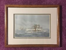 Antique 1893 Fred Cozzens Naval Ships Chromolithograph Machias, Katahdin, Iowa