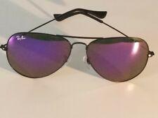 Ray Ban RB3026 62MM Aviator Unisex Sunglasses Black Frame/Purple Mirror Lens