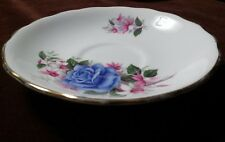 Royal Vale Bone China A 36 6 Ridgway Potteries LTD Blue Rose gold trim teasaucer