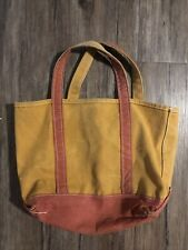 LL Bean Small Boat and Tote Canvas Bag Yellow Red Made In USA Vintage Rare &