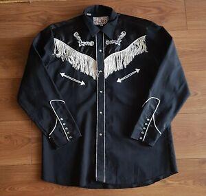 RODEO COWBOY Black Shirt size Large Tejas Mexico rockabilly vintage white fringe