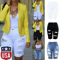 Womens Elastic Destroyed Hole Leggings Short Pants Denim Shorts Ripped Jeans US