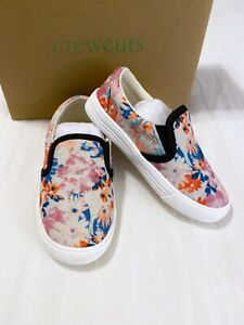 NEW J. Crew Crewcuts Canvas Floral Printed Slip On Sneakers Size K10