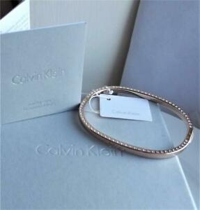 CALVIN KLEIN ROSE GOLD PLATED STAINLESS STEEL CLEAR CRYSTAL BANGLE BNWT RRP £119
