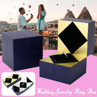 Engagement Ring Box Earrings Pendant Jewelry Display Storage Case Flanne Box
