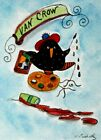 Original Miniature ACEO Dollhouse Art Crazy Crows Artist Painting by L Betz