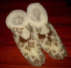 Ukrainian Slippers Felt merino Boots Sheep Wool Womens/Mens Size 42/11/8.5 Brown