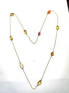 Natural Tourmaline,Carneline,Rainbow,Citrine Gemstone Multi color Silver Chain