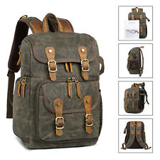 Coress Waxed Waterproof Canvas Shoulder Backpack with Camera Case for DSLR SLR