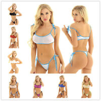 2Pcs Womens Mesh See Through Bathing Suit Micro Bra Top G-string Bikini Swimwear