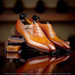 Handmade men's leather monk strap dress shoes custom formal monk shoes for men