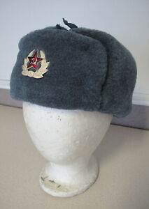 "Russian Soviet Military Soldier cold weather felt fur hat sz 56 22"" Шапка Ушанка"