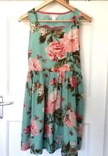 BAND OF GYPSIES BY TOPSHOP FLORAL SUMMER HOLIDAY BACK HEART CUT DRESS SIZE M 12♡