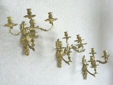 Antique period French ormulu on brass wall sconces brackets candelabra