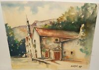 BORCIC CHURCH MISSION WATERCOLOR PAINTING