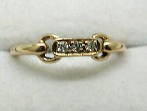 Lovely 9 carat Gold Unusual Design Three Stone Diamond Ring