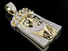 Uomo 10K Oro Giallo Gesù Maglia Cubana Corona Originale Pendente con Diamante