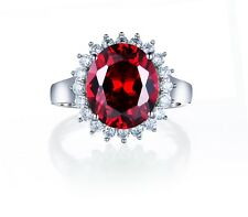925 Sterling Silver Princess Diana ring 2 Carat Lab Created Ruby & Diamonds