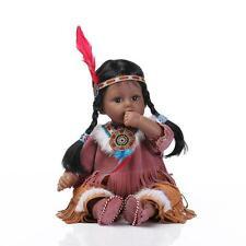 "20""Handmade Lifelike Indian Baby Girl Silicone Vinyl Reborn Newborn Doll+Clothes"