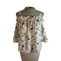 Twine & String Cold Shoulder Floral Boho Top Shirt Blouse S Small