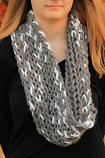 Chunky Cowl- Gray and white Cowl- Hand knit cowl-Infinity scarf