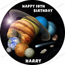 Personalised Outer Space Planets Solar System Round Edible Icing Cake Topper