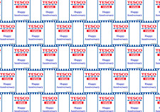 Funny TESCO VALUE HAPPY ANNIVERSARY Wrapping Paper A1, A2 or A3 - party, joke