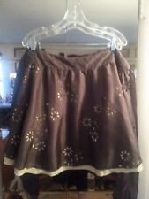 Tara Jarmon Silk Skirt Greyish Brown Over Yellow Floral Cutouts Size XL EUC boho