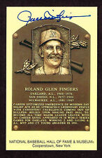 ROLLIE FINGERS SIGNED Hall Fame Plaque HOF Yellow  Postcard Autographed  COA