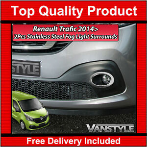 RENAULT TRAFIC 2014> CHROME FOG LIGHT LAMP SURROUNDS TRIM STAINLESS POLISHED