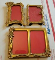 3 VTG ART NOUVEAU SOLID BRASS FAIRY LADY FOOTED PICTURE FRAMES ITALY DOUBLE