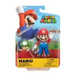"Nintendo Super Mario 4"" Poseable Action Figure - Mario with 1-UP Mushroom"