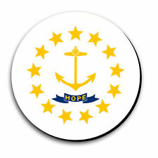 Rhode Island State Flag Mouse Pad Non-Slip 8in Round 1/8in Thick MADE IN USA