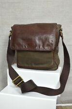 FOSSIL Men's/Unisex brown leather check oilcloth cross body messenger travel bag