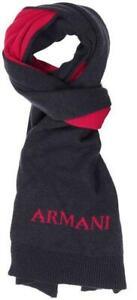 Emporio Armani Unisex Scarf Blue Red Wool Mix 30cm x 160cm