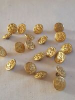 Vtg Waterbury Button Co Gold Tone Military Buttons Lot Of 20