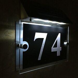 Modern SOLAR LIGHT House Signs Plaques Door Numbers 1 - 999 LED DIY waterproof !