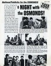 DONNY OSMOND THE OSMONDS RARE ORIGINAL MGM RECORDS 1970 TIGER BEAT PROMO FOLDER