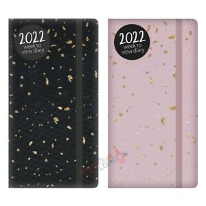Diary 2022 Week To View Slim Size Textured Foil Fleck With Elastic Closure