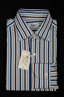 BELVEST by Finamore Napoli Shirt Cotton Striped Blue Brown White 15 3/4 - 40 Reg