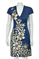 NAEEM KHAN Blue Silk Dress with Ivory and Gold Leather Flowers SIZE 4