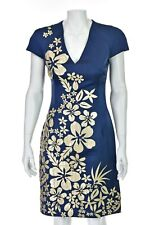 NAEEM KHAN Blue Silk Dress with Ivory and Gold Leather Flowers SIZE 2/4